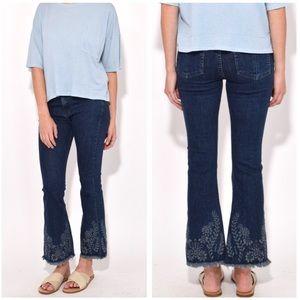 •Rag & Bone• High Rise Crop Embroidered Jeans